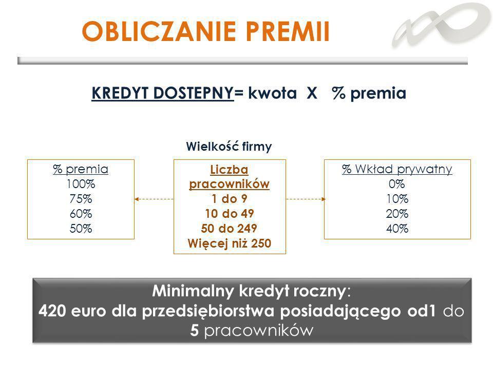 OBLICZANIE PREMII Liczba pracowników 1 do 9 10 do 49 50 do 249 Więcej niż 250 Wielkość firmy % premia 100% 75% 60% 50% Minimalny kredyt roczny : 420 e