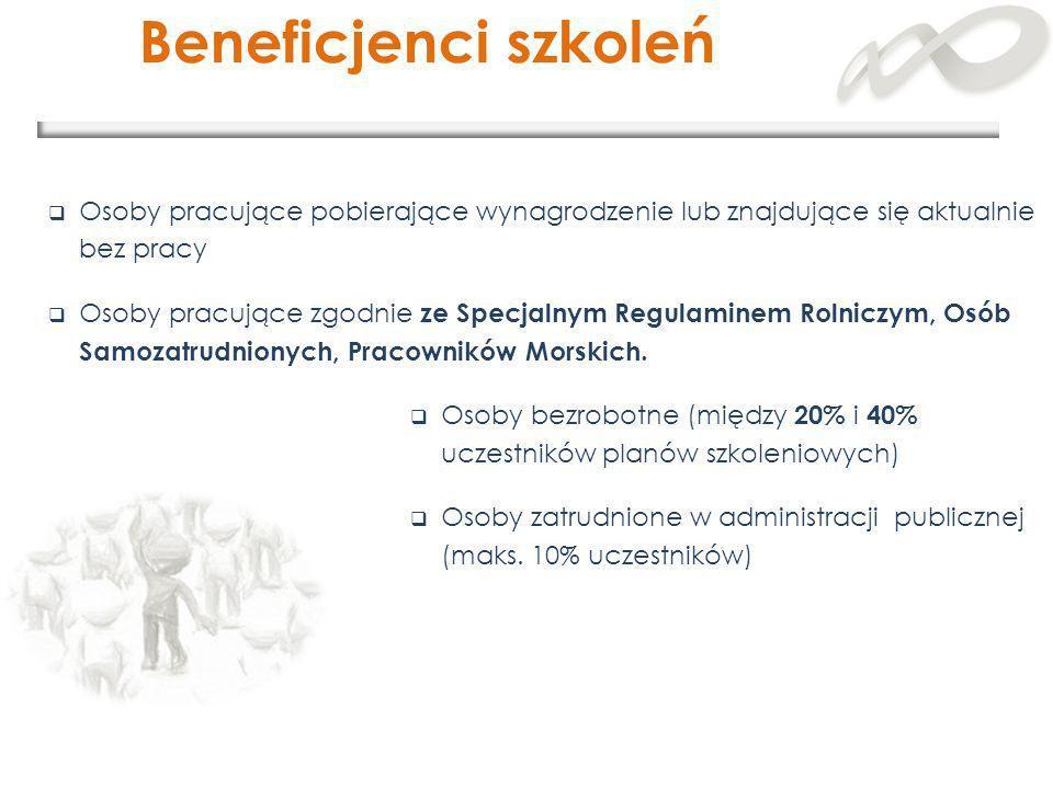 Beneficjenci szkoleń Osoby pracujące pobierające wynagrodzenie lub znajdujące się aktualnie bez pracy Osoby pracujące zgodnie ze Specjalnym Regulamine