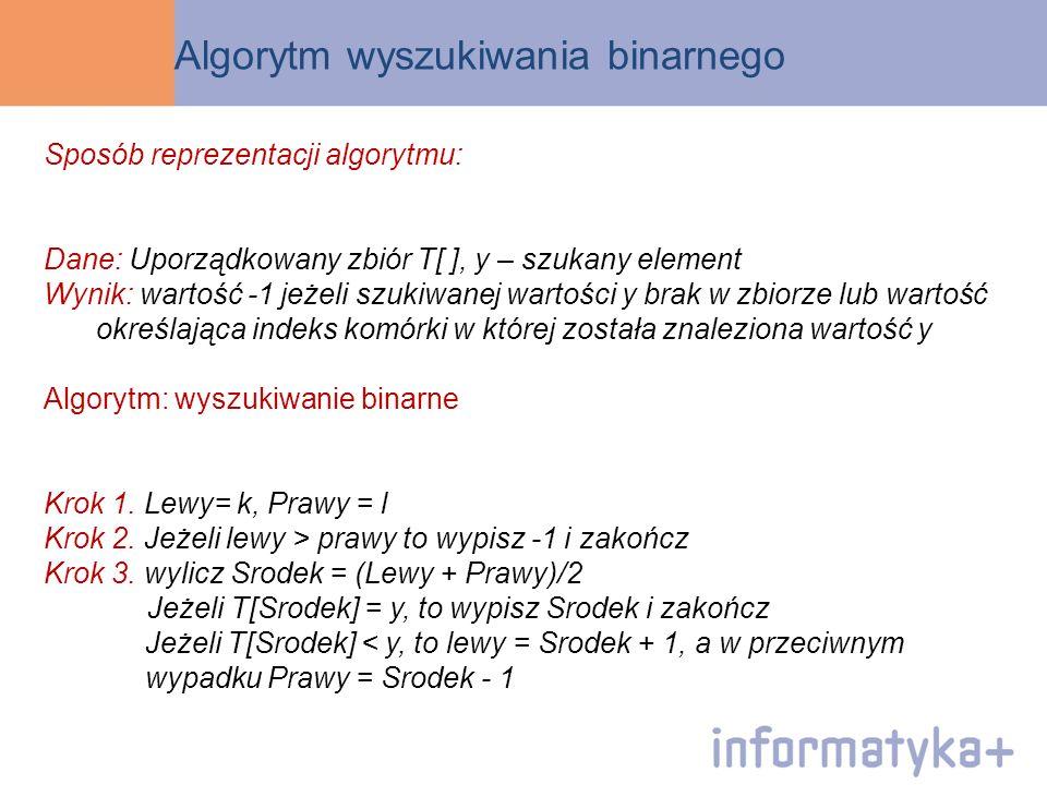 Algorytm wyszukiwania binarnego Sposób reprezentacji algorytmu: Dane: Uporządkowany zbiór T[ ], y – szukany element Wynik: wartość -1 jeżeli szukiwane