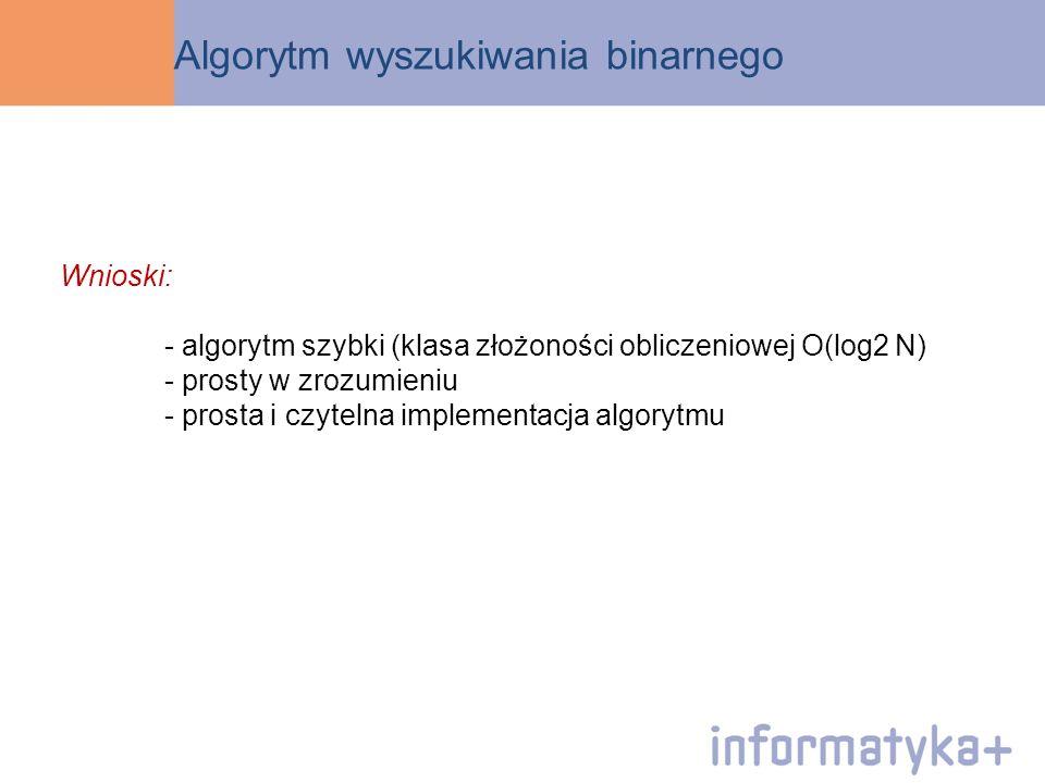 Algorytm wyszukiwania binarnego Wnioski: - algorytm szybki (klasa złożoności obliczeniowej O(log2 N) - prosty w zrozumieniu - prosta i czytelna implem