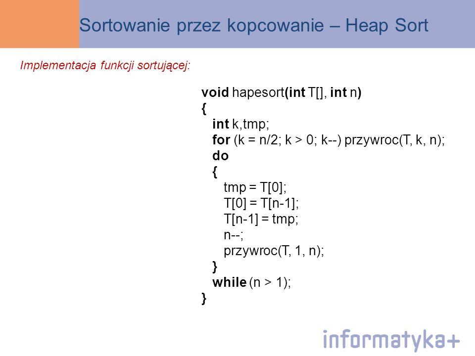 Sortowanie przez kopcowanie – Heap Sort void hapesort(int T[], int n) { int k,tmp; for (k = n/2; k > 0; k--) przywroc(T, k, n); do { tmp = T[0]; T[0]