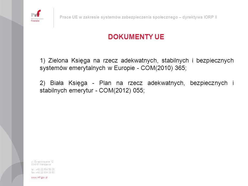Prace UE w zakresie systemów zabezpieczenia społecznego – dyrektywa IORP II DOKUMENTY UE ul. Świętokrzyska 12 00-916 Warszawa tel.: +48 22 694 58 26 f
