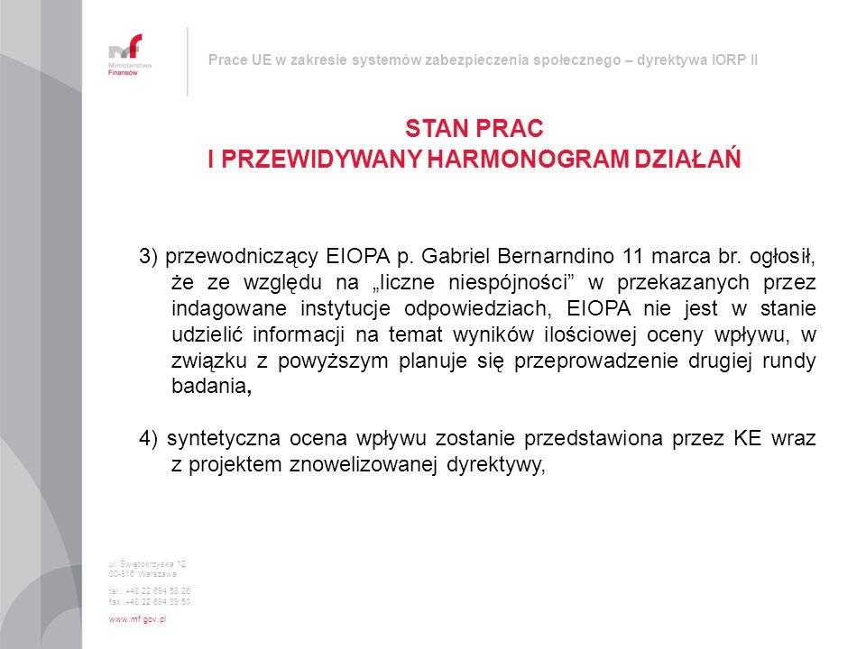 Prace UE w zakresie systemów zabezpieczenia społecznego – dyrektywa IORP II STAN PRAC I PRZEWIDYWANY HARMONOGRAM DZIAŁAŃ ul. Świętokrzyska 12 00-916 W