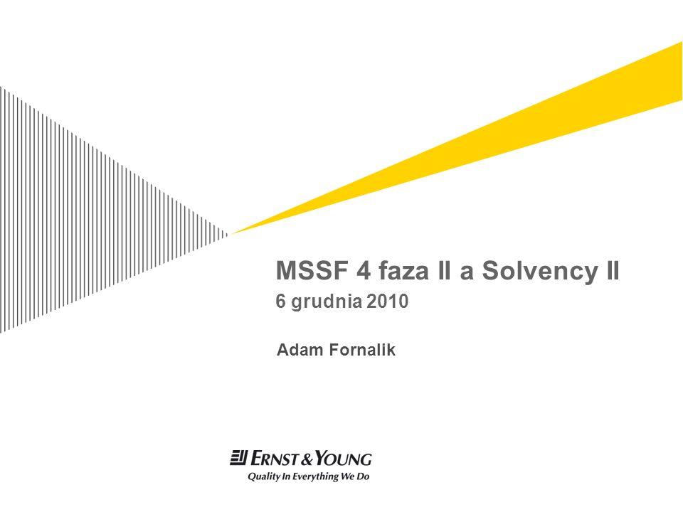MSSF 4 faza II a Solvency II – 6 grudnia 2010 strona 2 Agenda Cele i zakresy Synergia w implementacji Bilans MSSF i Solvency II Wycena zobowiązań ubezpieczeniowych Główne różnice w wycenie zobowiązań ubezpieczeniowych Opcje i gwarancje wbudowane w umowy ubezpieczenia Wycena aktywów i pozostałych zobowiązań Granice umowy ubezpieczenia