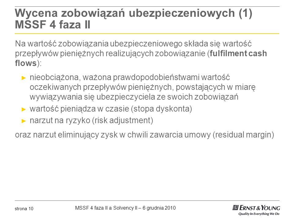 MSSF 4 faza II a Solvency II – 6 grudnia 2010 strona 10 Wycena zobowiązań ubezpieczeniowych (1) MSSF 4 faza II Na wartość zobowiązania ubezpieczeniowe