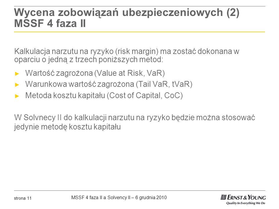 MSSF 4 faza II a Solvency II – 6 grudnia 2010 strona 11 Wycena zobowiązań ubezpieczeniowych (2) MSSF 4 faza II Kalkulacja narzutu na ryzyko (risk marg