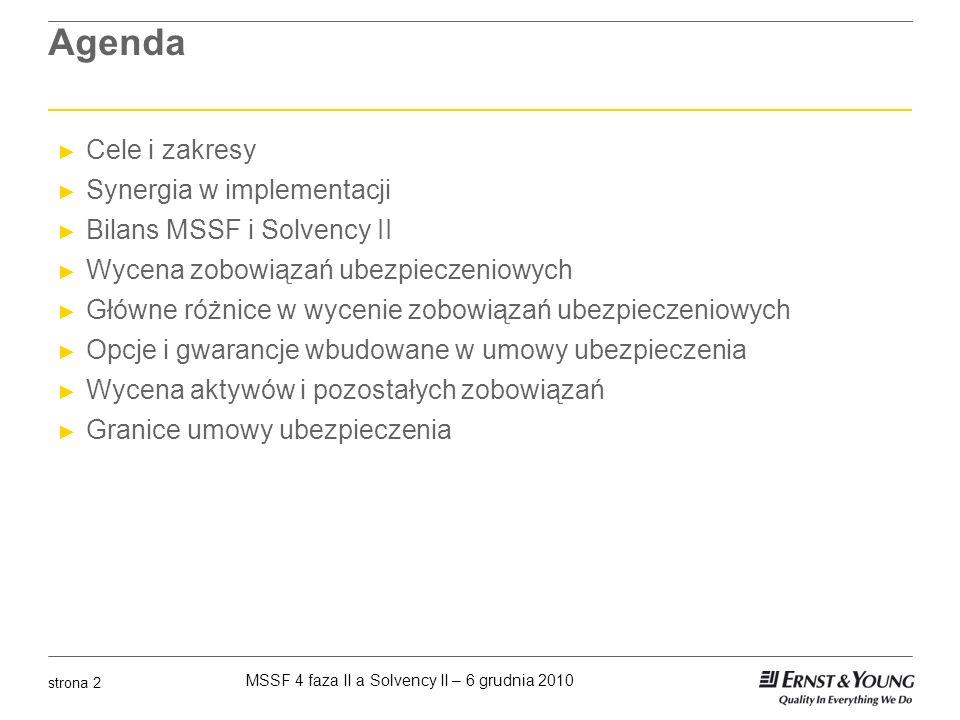 MSSF 4 faza II a Solvency II – 6 grudnia 2010 strona 3 MSSF a Solvency II Punkt widzenia Komisji Europejskiej Komisja Europejska, Dyrektywa Solvency II, nota wprowadzająca 28 Standardy wyceny na potrzeby nadzoru powinny być w możliwie dużym zakresie zgodne z międzynarodowymi zasadami rachunkowości by ograniczyć obciążenia administracyjne Komisja Europejska, Specyfikacja techniczna QIS5, paragraf V.4 O ile to nie zostało uregulowane w inny sposób, wycena wszystkich aktywów oraz zobowiązań, innych niż rezerwy techniczne powinna być dokonana zgodnie z międzynarodowymi standardami rachunkowości przyjętymi przez Unię Europejską