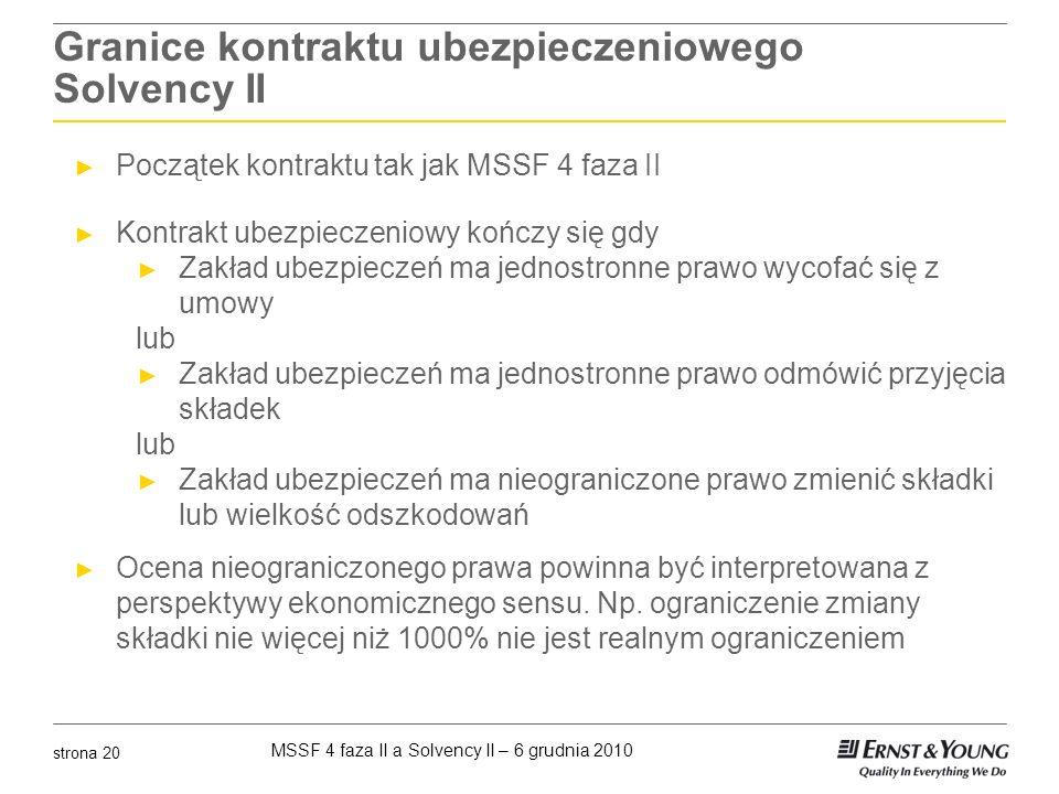 MSSF 4 faza II a Solvency II – 6 grudnia 2010 strona 20 Granice kontraktu ubezpieczeniowego Solvency II Początek kontraktu tak jak MSSF 4 faza II Kont