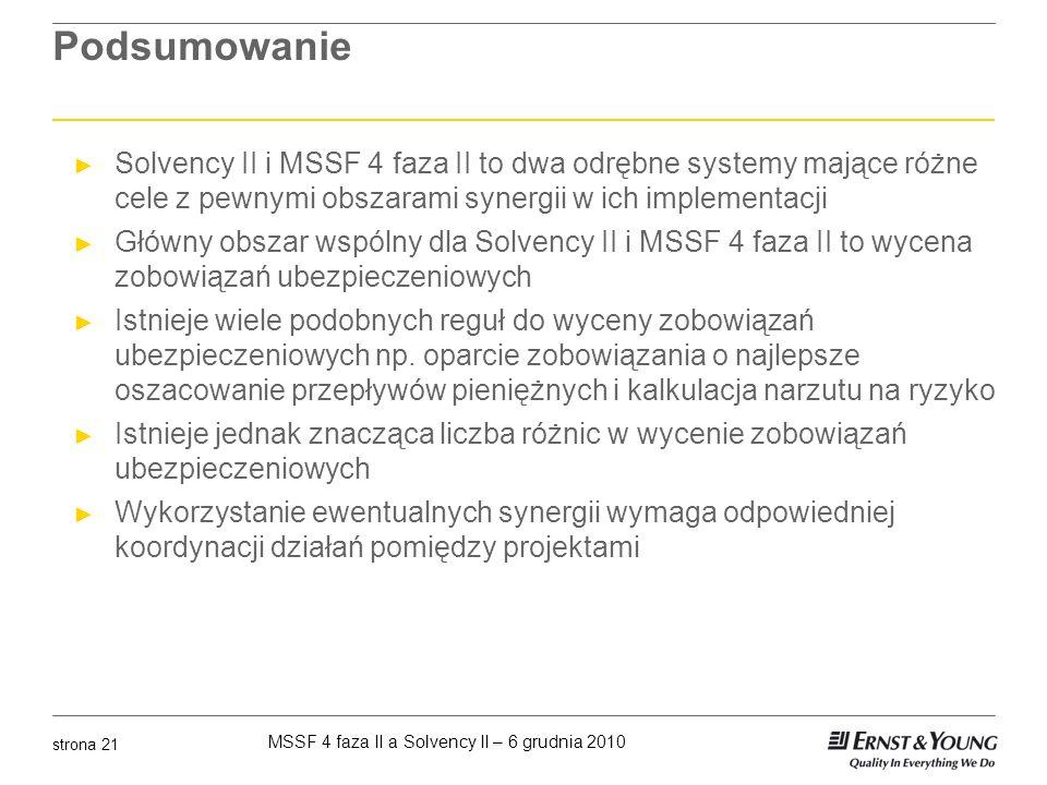 MSSF 4 faza II a Solvency II – 6 grudnia 2010 strona 21 Podsumowanie Solvency II i MSSF 4 faza II to dwa odrębne systemy mające różne cele z pewnymi o