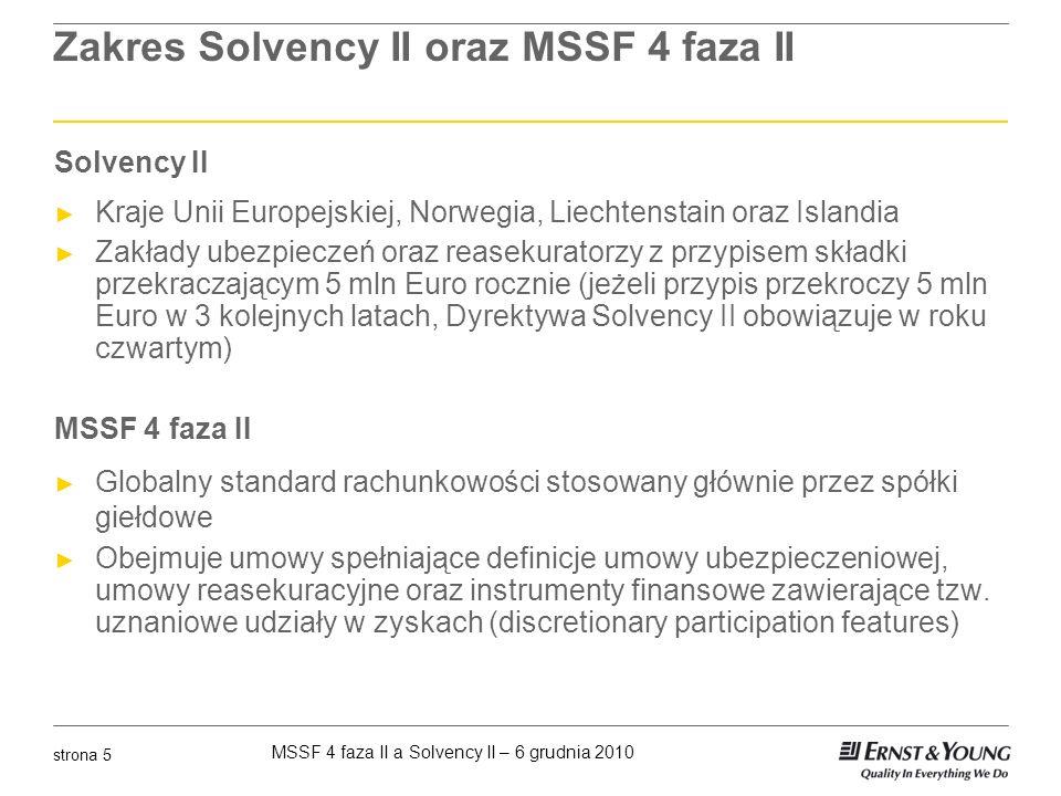 MSSF 4 faza II a Solvency II – 6 grudnia 2010 strona 6 Wdrożenie Solvency II oraz MSSF 4 faza II Ramy czasowe Solvency II Kwiecień 2011 – publikacja wyników QIS5 2011-2012 publikacja aktów wykonawczych i ich przyjęcie przez państwa członkowskie Oficjalnie Solvency II ma wejść w życie 31 października 2012 lecz pojawiła się propozycja przesunięcia daty wdrożenia na 1 stycznia 2013 MSSF 4 faza II Czerwiec 2011 publikacja standardu Planuje się wdrożenie w roku 2013 lub 2014 Zakładając, że nowy standard wejdzie w życie 1 stycznia 2014, wymagać to będzie sporządzenie bilansu otwarcia zgodnie z nowymi regułami na datę 31 grudnia 2012 (dane porównawcze)