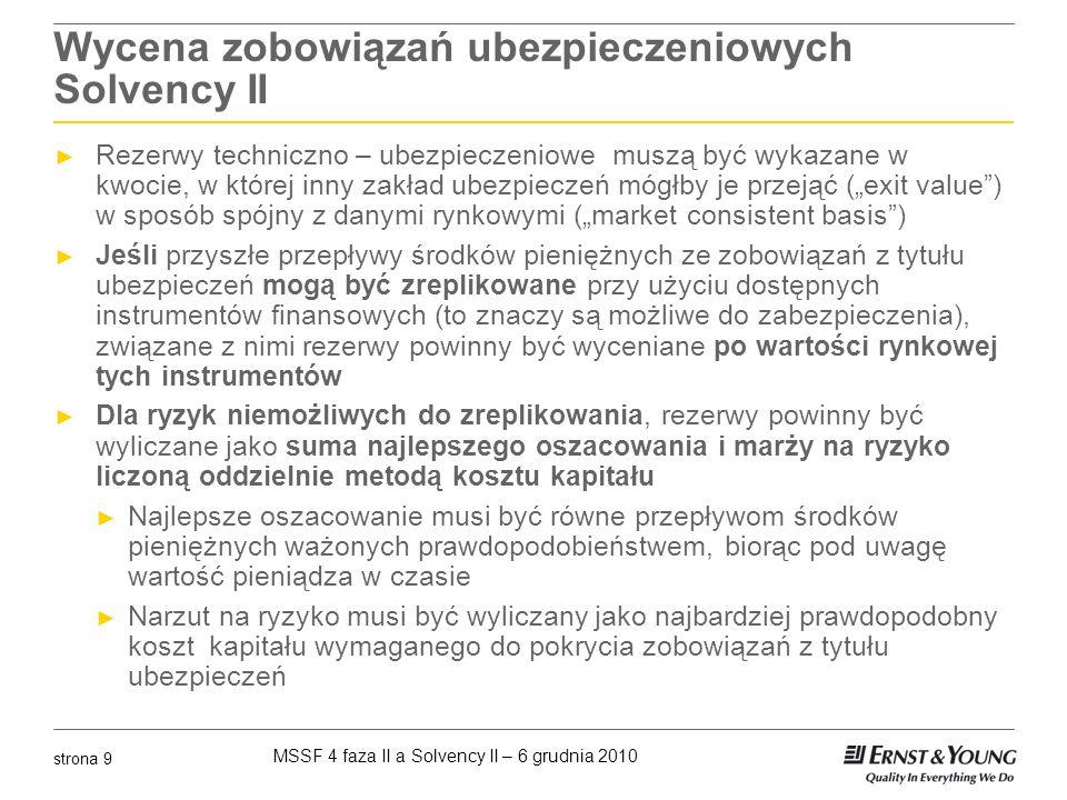 MSSF 4 faza II a Solvency II – 6 grudnia 2010 strona 9 Wycena zobowiązań ubezpieczeniowych Solvency II Rezerwy techniczno – ubezpieczeniowe muszą być