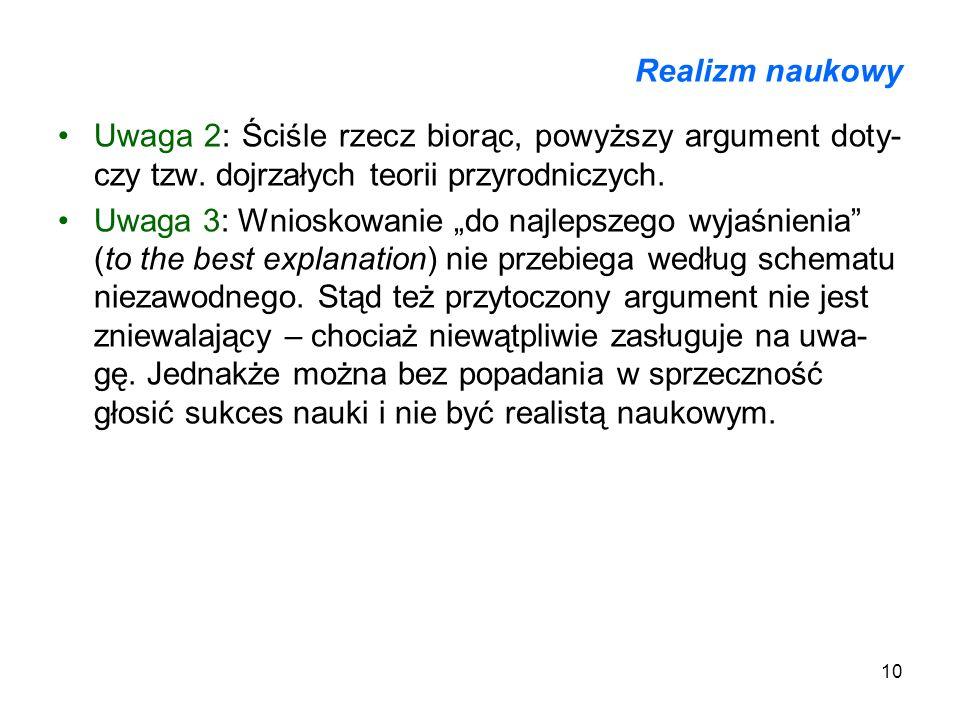10 Realizm naukowy Uwaga 2: Ściśle rzecz biorąc, powyższy argument doty- czy tzw. dojrzałych teorii przyrodniczych. Uwaga 3: Wnioskowanie do najlepsze