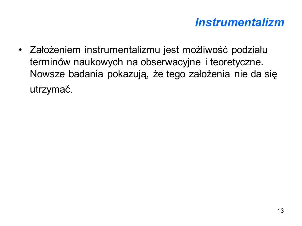 13 Instrumentalizm Założeniem instrumentalizmu jest możliwość podziału terminów naukowych na obserwacyjne i teoretyczne. Nowsze badania pokazują, że t