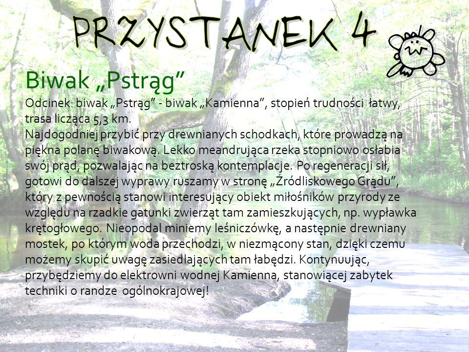 Biwak Pstrąg Odcinek: biwak Pstrąg - biwak Kamienna, stopień trudności łatwy, trasa licząca 5,3 km.