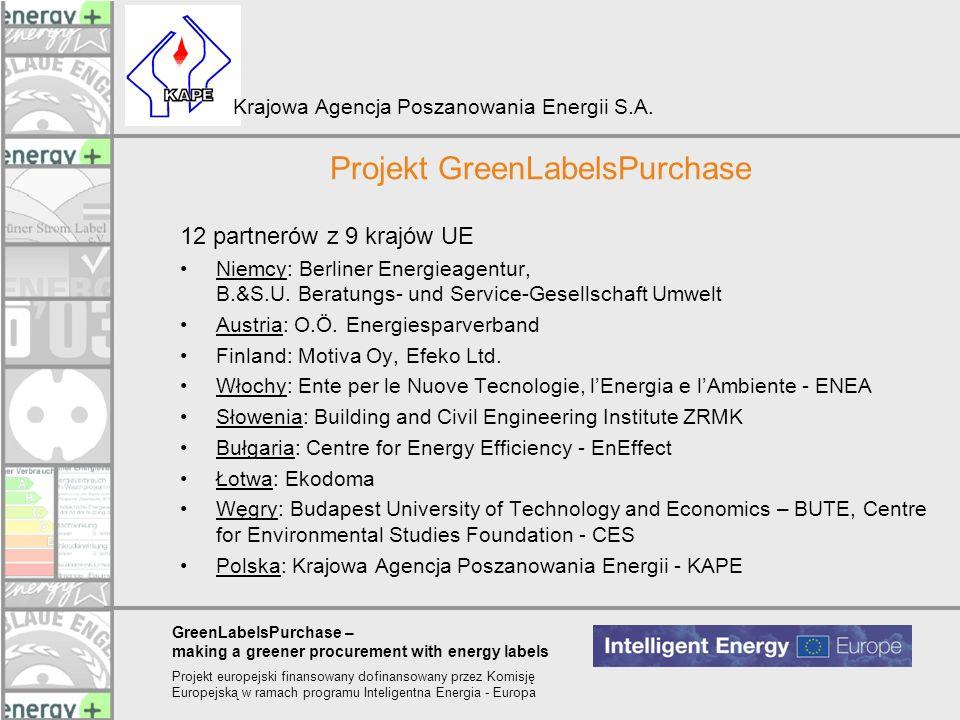 GreenLabelsPurchase – making a greener procurement with energy labels Projekt europejski finansowany dofinansowany przez Komisję Europejską w ramach p