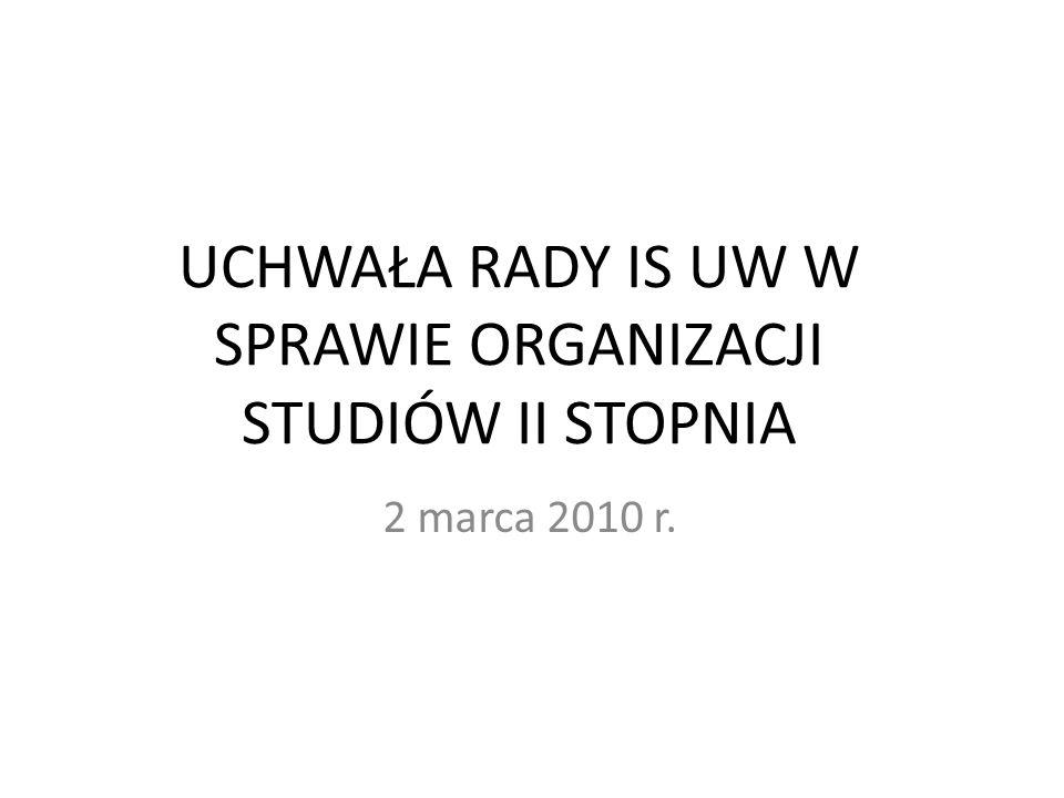 UCHWAŁA RADY IS UW W SPRAWIE ORGANIZACJI STUDIÓW II STOPNIA 2 marca 2010 r.