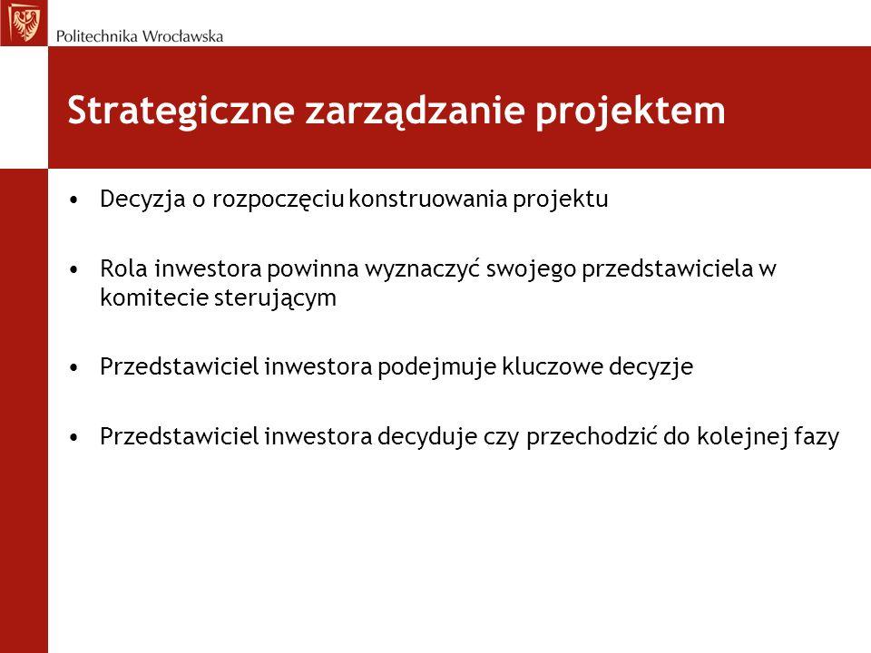 Strategiczne zarządzanie projektem Decyzja o rozpoczęciu konstruowania projektu Rola inwestora powinna wyznaczyć swojego przedstawiciela w komitecie s