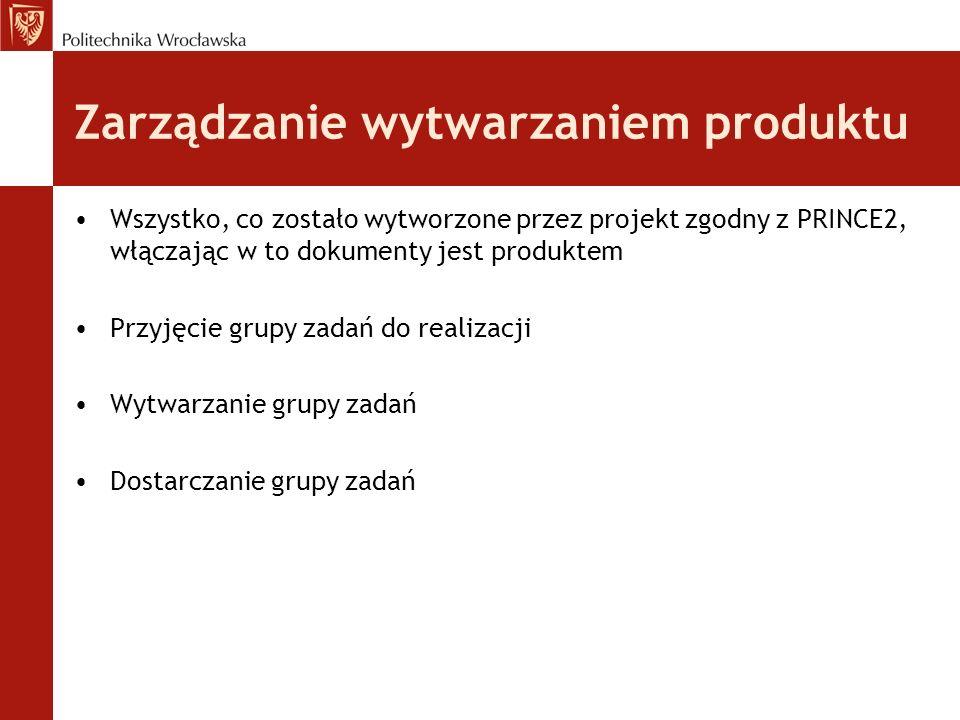 Zarządzanie wytwarzaniem produktu Wszystko, co zostało wytworzone przez projekt zgodny z PRINCE2, włączając w to dokumenty jest produktem Przyjęcie gr