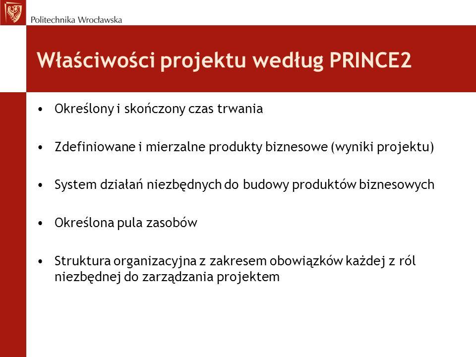 Właściwości projektu według PRINCE2 Określony i skończony czas trwania Zdefiniowane i mierzalne produkty biznesowe (wyniki projektu) System działań ni