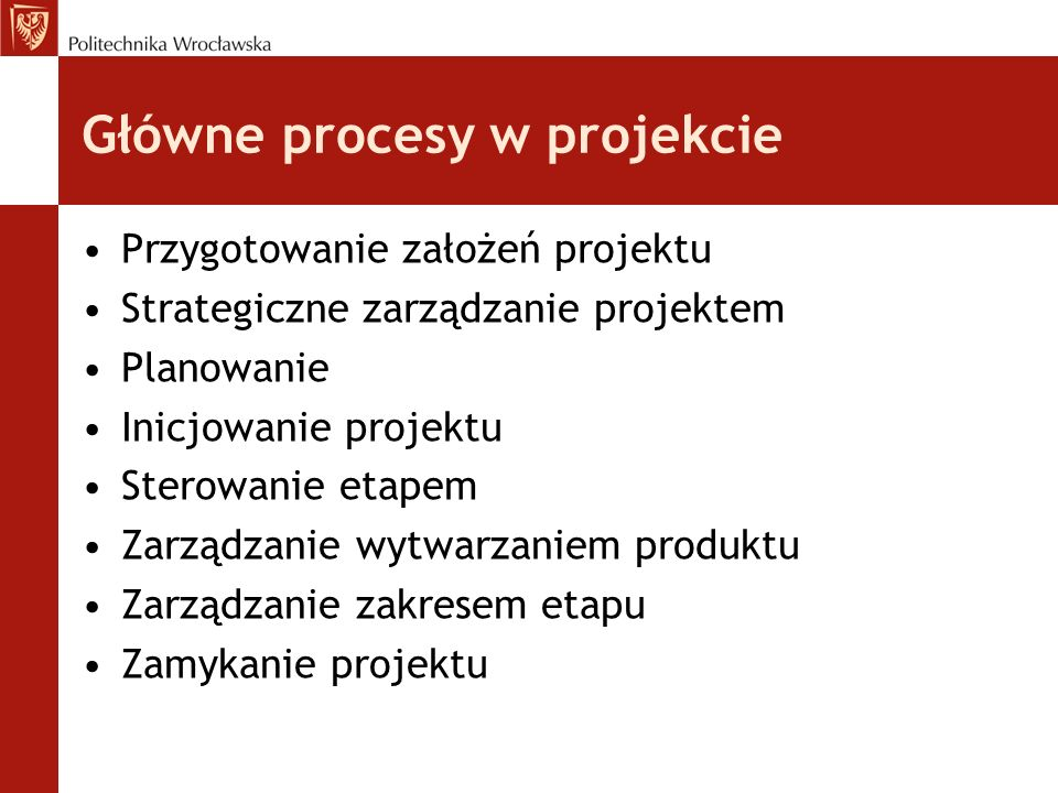 Główne procesy w projekcie Przygotowanie założeń projektu Strategiczne zarządzanie projektem Planowanie Inicjowanie projektu Sterowanie etapem Zarządzanie wytwarzaniem produktu Zarządzanie zakresem etapu Zamykanie projektu