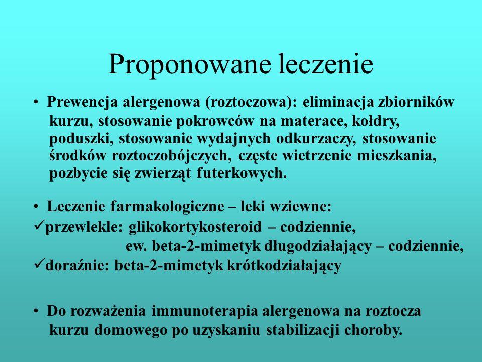 Proponowane leczenie Prewencja alergenowa (roztoczowa): eliminacja zbiorników kurzu, stosowanie pokrowców na materace, kołdry, poduszki, stosowanie wy