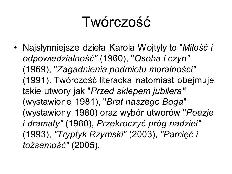 Twórczość Najsłynniejsze dzieła Karola Wojtyły to