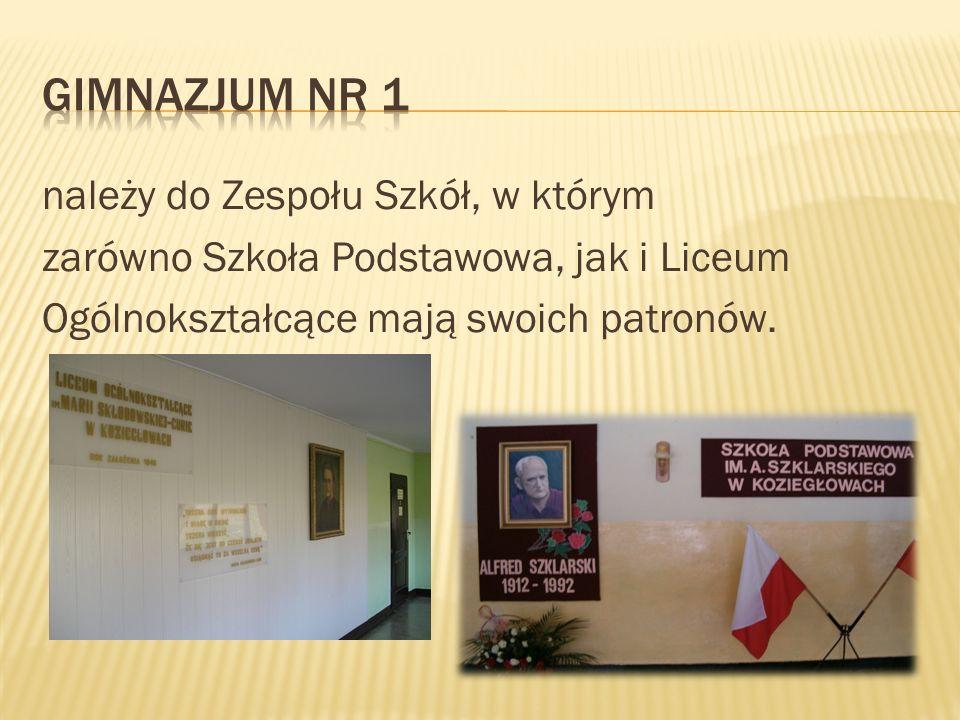należy do Zespołu Szkół, w którym zarówno Szkoła Podstawowa, jak i Liceum Ogólnokształcące mają swoich patronów.