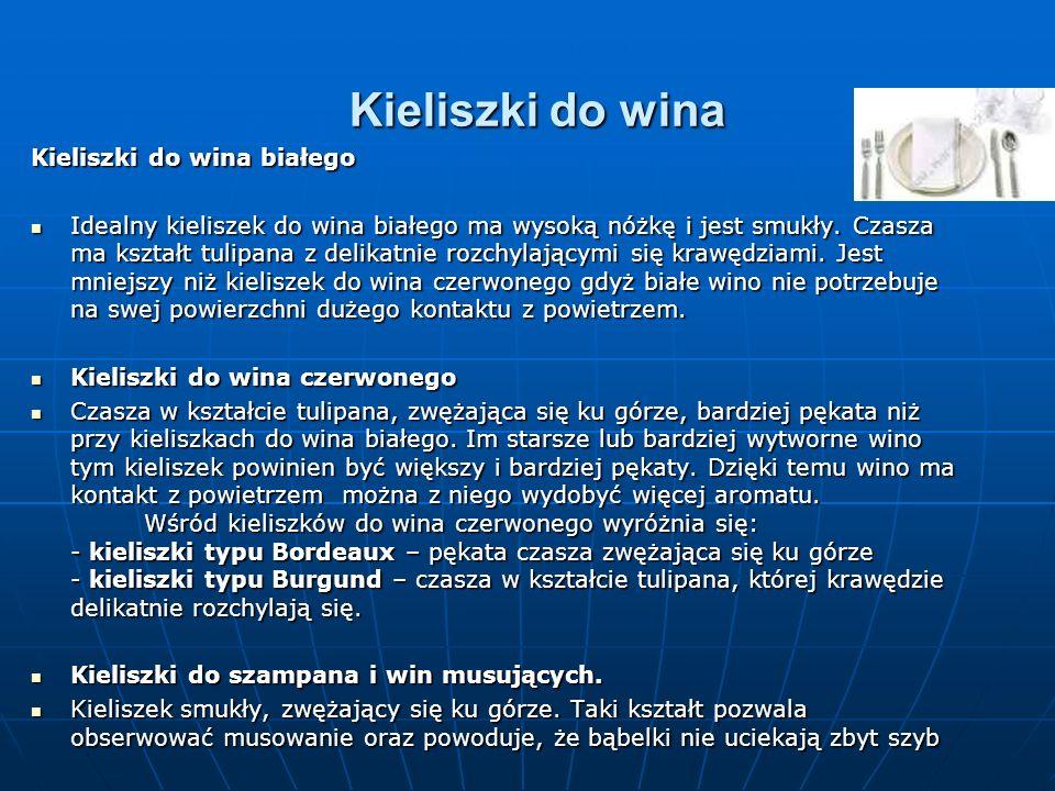 Kieliszki do wina białego Idealny kieliszek do wina białego ma wysoką nóżkę i jest smukły. Czasza ma kształt tulipana z delikatnie rozchylającymi się