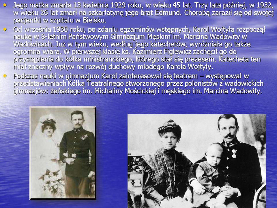 Jego matka zmarła 13 kwietnia 1929 roku, w wieku 45 lat.