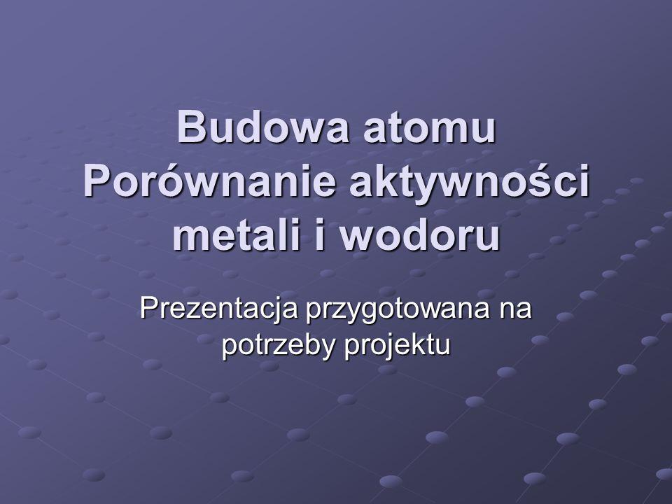 Budowa atomu Porównanie aktywności metali i wodoru Prezentacja przygotowana na potrzeby projektu