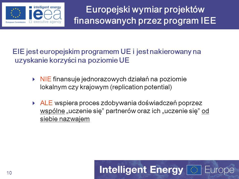 10 Europejski wymiar projektów finansowanych przez program IEE EIE jest europejskim programem UE i jest nakierowany na uzyskanie korzyści na poziomie