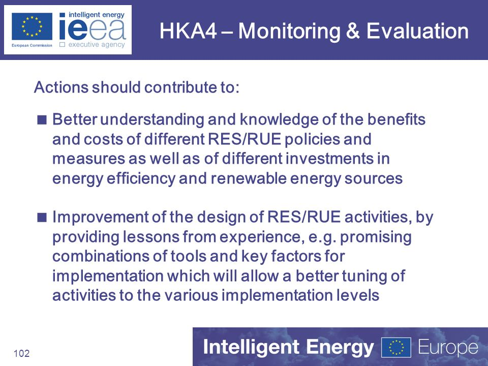 102 HKA4 – Monitoring & Evaluation Actions should contribute to: Better understanding and knowledge of the benefits and costs of different RES/RUE pol