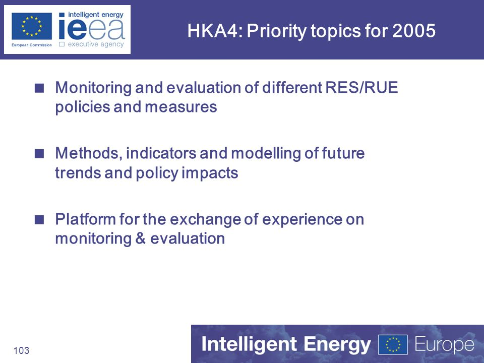103 HKA4: Priority topics for 2005 Monitoring and evaluation of different RES/RUE policies and measures Methods, indicators and modelling of future tr