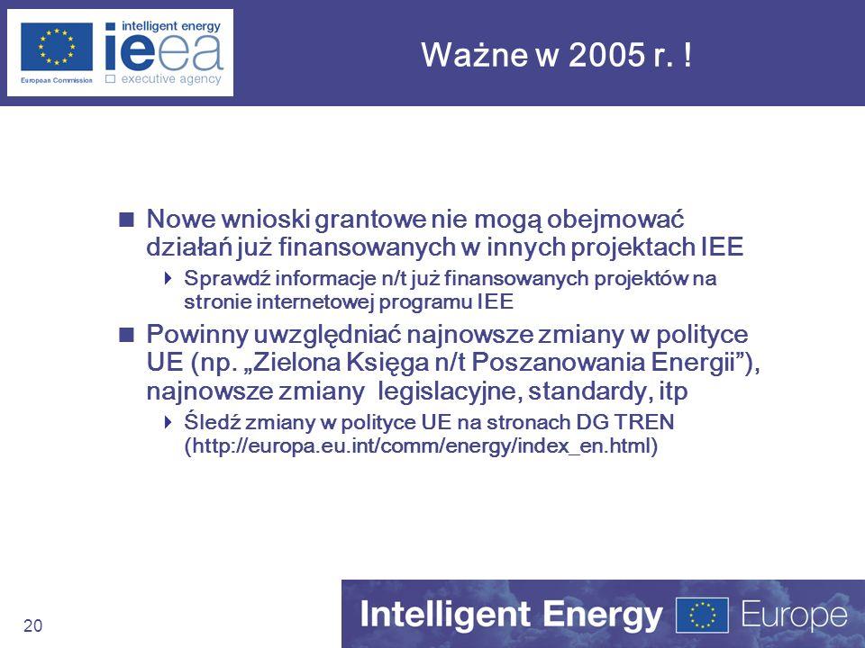 20 Ważne w 2005 r. ! Nowe wnioski grantowe nie mogą obejmować działań już finansowanych w innych projektach IEE Sprawdź informacje n/t już finansowany