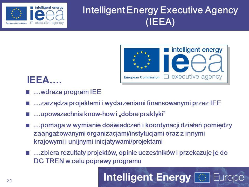 21 Intelligent Energy Executive Agency (IEEA) …wdraża program IEE …zarządza projektami i wydarzeniami finansowanymi przez IEE …upowszechnia know-how i