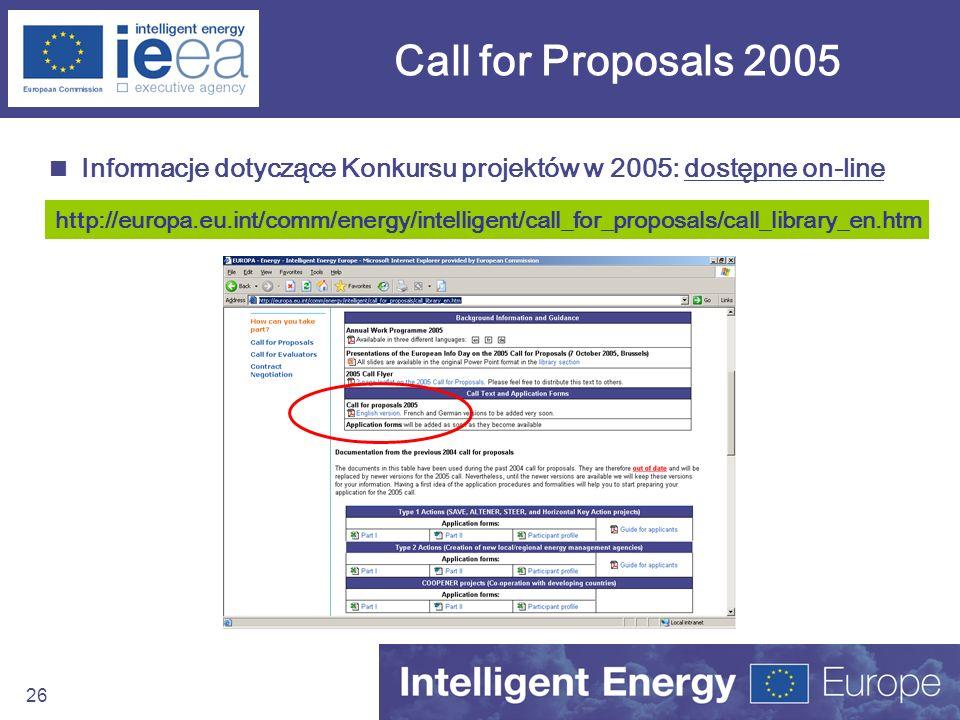 26 Call for Proposals 2005 Informacje dotyczące Konkursu projektów w 2005: dostępne on-line http://europa.eu.int/comm/energy/intelligent/call_for_prop