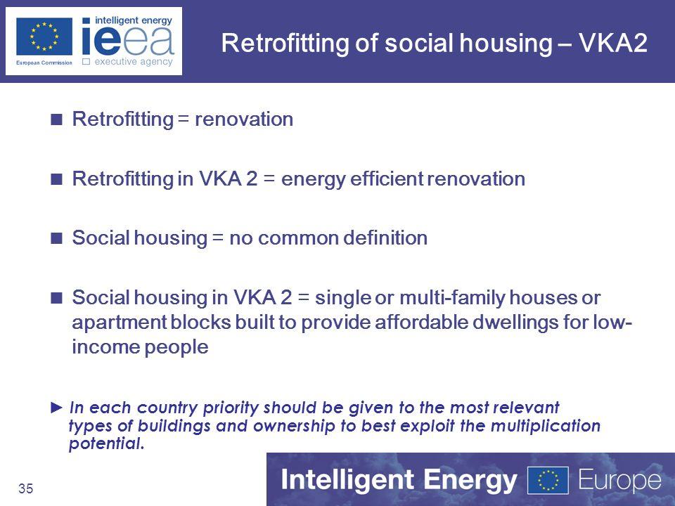 35 Retrofitting of social housing – VKA2 Retrofitting = renovation Retrofitting in VKA 2 = energy efficient renovation Social housing = no common defi