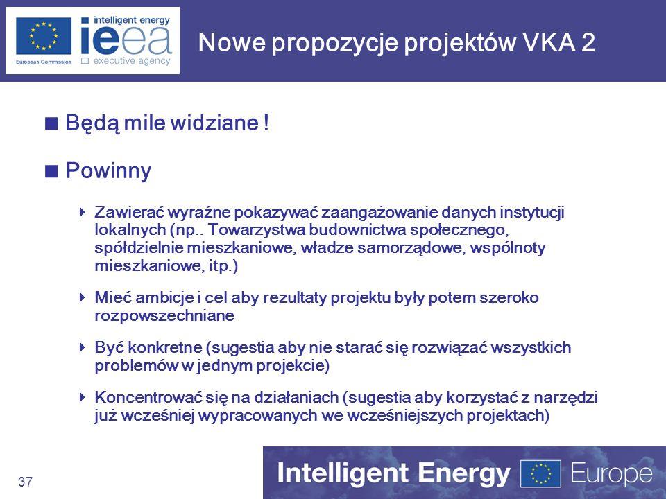 37 Nowe propozycje projektów VKA 2 Będą mile widziane ! Powinny Zawierać wyraźne pokazywać zaangażowanie danych instytucji lokalnych (np.. Towarzystwa