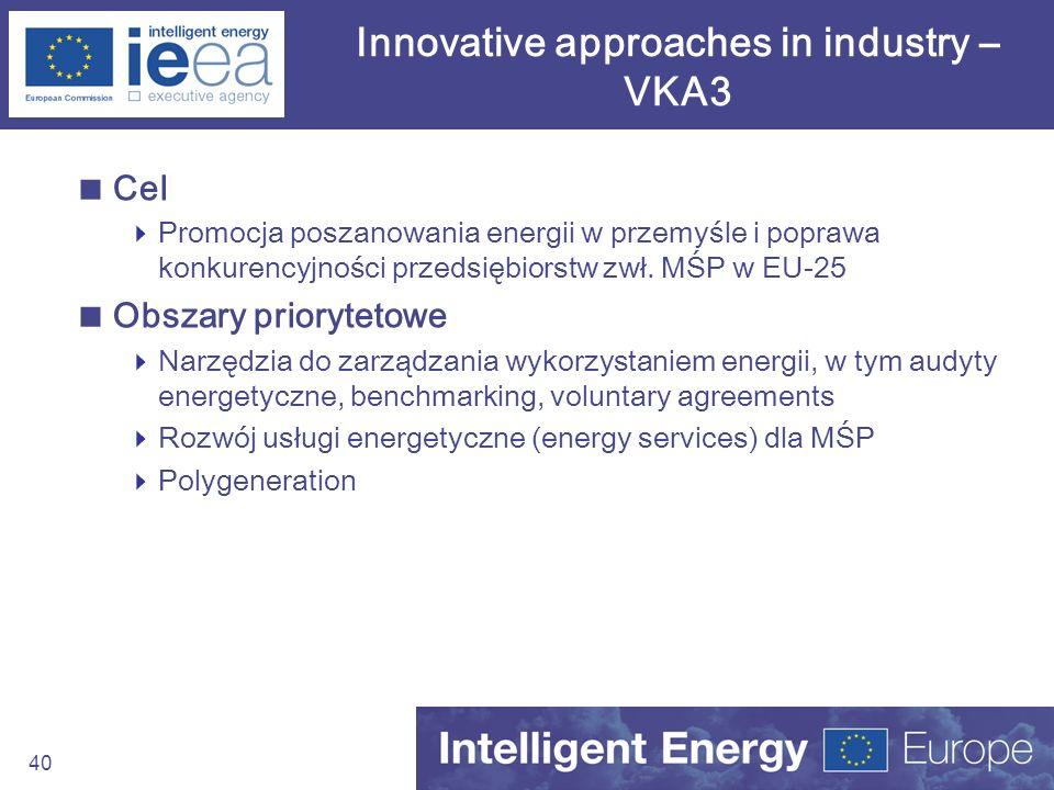 40 Innovative approaches in industry – VKA3 Cel Promocja poszanowania energii w przemyśle i poprawa konkurencyjności przedsiębiorstw zwł. MŚP w EU-25