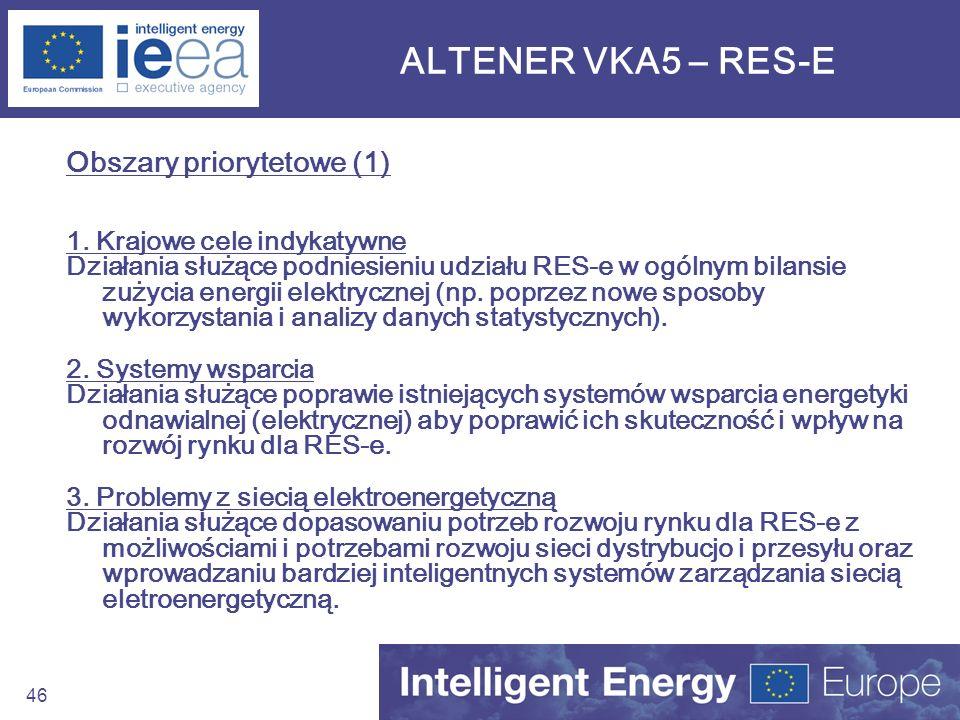 46 ALTENER VKA5 – RES-E Obszary priorytetowe (1) 1. Krajowe cele indykatywne Działania służące podniesieniu udziału RES-e w ogólnym bilansie zużycia e