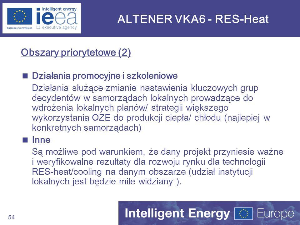 54 ALTENER VKA6 - RES-Heat Obszary priorytetowe (2) Działania promocyjne i szkoleniowe Działania służące zmianie nastawienia kluczowych grup decydentó