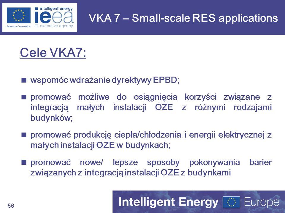 56 VKA 7 – Small-scale RES applications Cele VKA7: wspomóc wdrażanie dyrektywy EPBD; promować możliwe do osiągnięcia korzyści związane z integracją ma