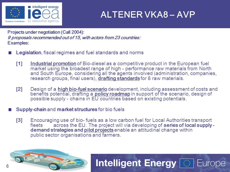 61 ALTENER VKA8 – AVP Projects under negotiation (Call 2004): 9 proposals recommended out of 15, with actors from 23 countries: Examples: Legislation,
