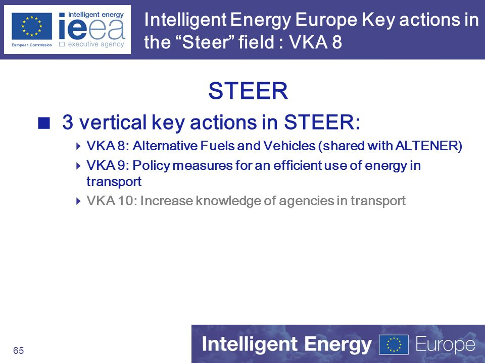 65 Intelligent Energy Europe Key actions in the Steer field : VKA 8 STEER 3 vertical key actions in STEER: VKA 8: Alternative Fuels and Vehicles (shar