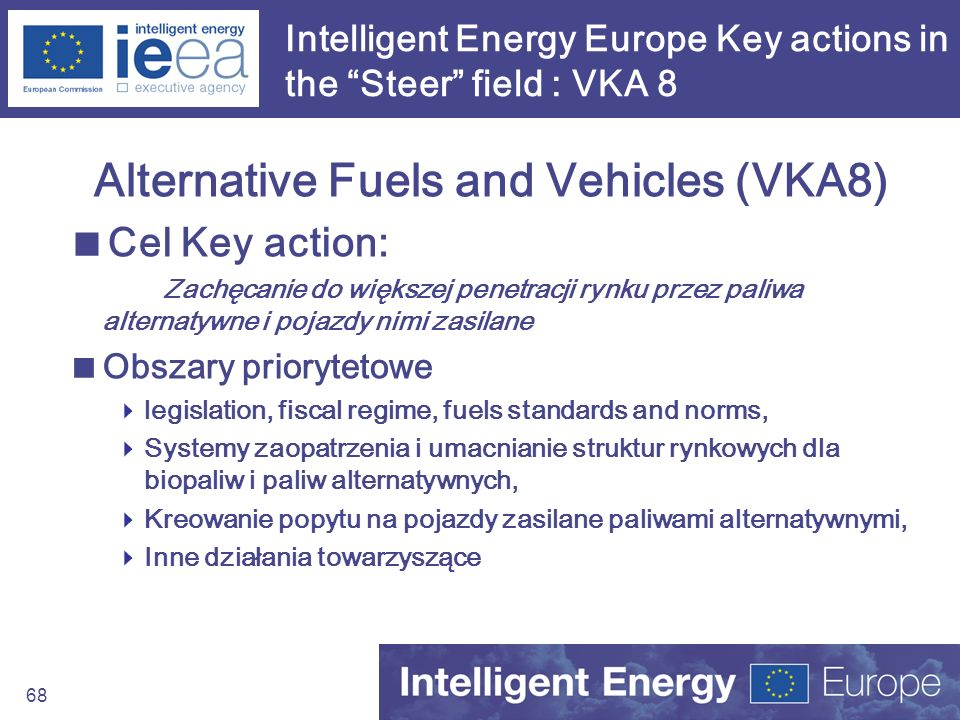 68 Intelligent Energy Europe Key actions in the Steer field : VKA 8 Alternative Fuels and Vehicles (VKA8) Cel Key action: Zachęcanie do większej penet