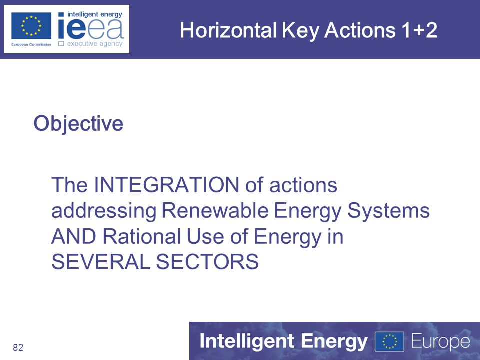 82 Horizontal Key Actions 1+2 Objective The INTEGRATION of actions addressing Renewable Energy Systems AND Rational Use of Energy in SEVERAL SECTORS