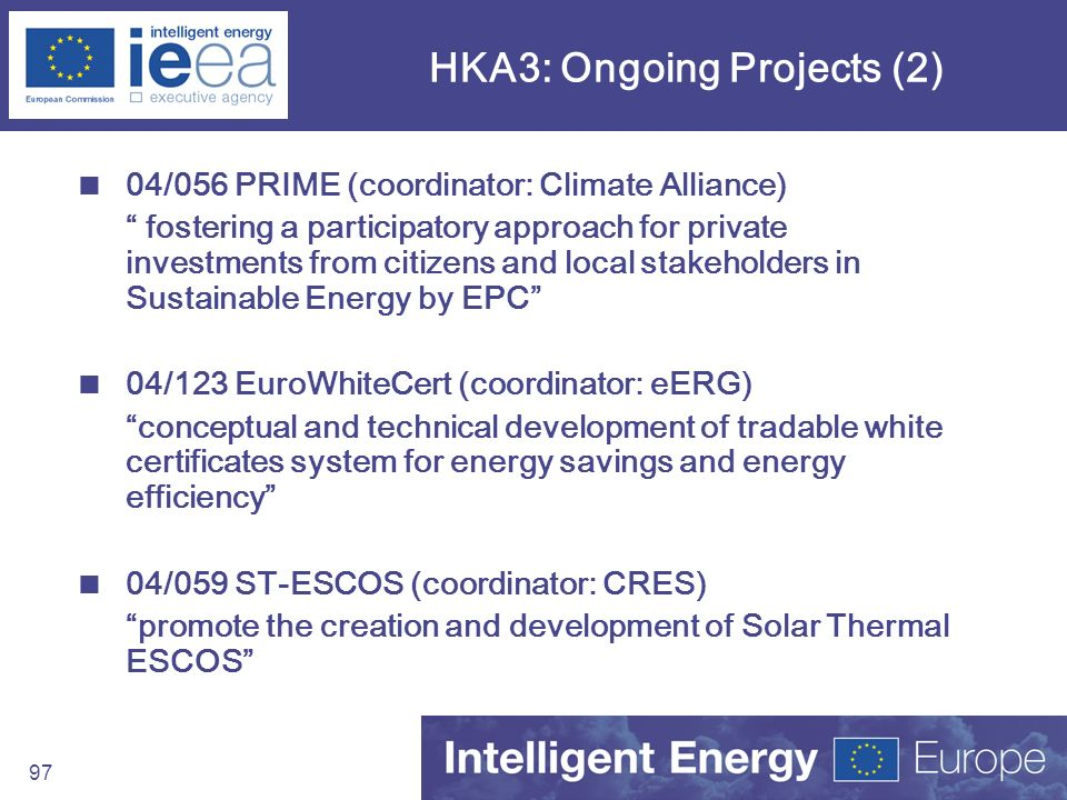 97 HKA3: Ongoing Projects (2) 04/056 PRIME (coordinator: Climate Alliance) fostering a participatory approach for private investments from citizens an