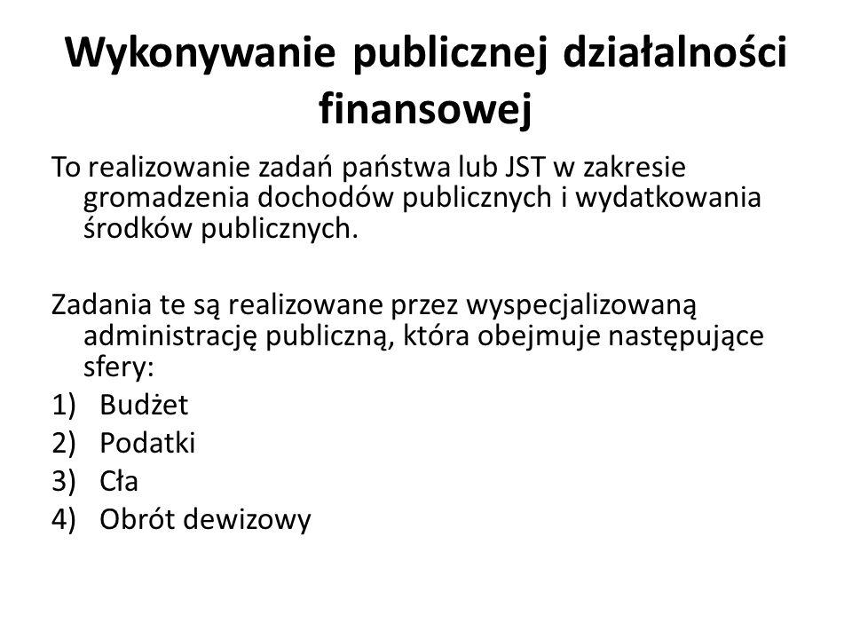 Wykonywanie publicznej działalności finansowej To realizowanie zadań państwa lub JST w zakresie gromadzenia dochodów publicznych i wydatkowania środków publicznych.