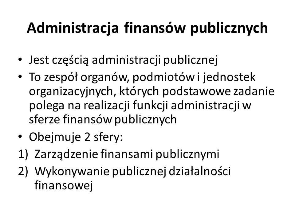 Jest częścią administracji publicznej To zespół organów, podmiotów i jednostek organizacyjnych, których podstawowe zadanie polega na realizacji funkcji administracji w sferze finansów publicznych Obejmuje 2 sfery: 1)Zarządzenie finansami publicznymi 2)Wykonywanie publicznej działalności finansowej