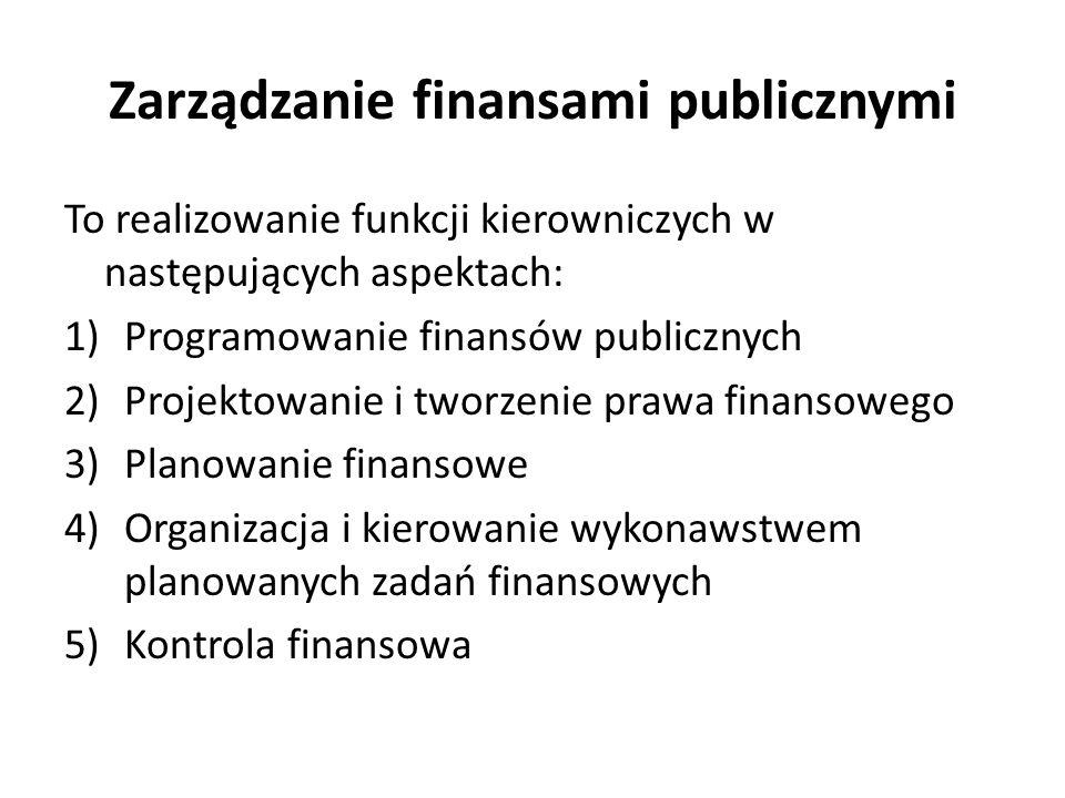 Zarządzanie finansami publicznymi To realizowanie funkcji kierowniczych w następujących aspektach: 1)Programowanie finansów publicznych 2)Projektowanie i tworzenie prawa finansowego 3)Planowanie finansowe 4)Organizacja i kierowanie wykonawstwem planowanych zadań finansowych 5)Kontrola finansowa